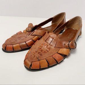 Vintage Woodbridge Woven Leather Pointed Sandals